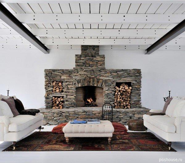 дизайн интерьера гостиной комнаты с каменным камином 2012