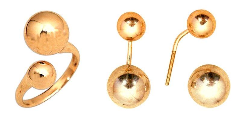 Где купить золотой гарнитур поцелуйчики серьги М14010216 и кольцо М14000141 шары цена фото каталог недорого интернет магазин Россия