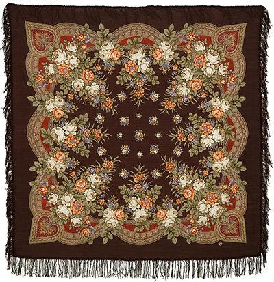 Павловопосадские платки   » —125 с шерстяной бахромой