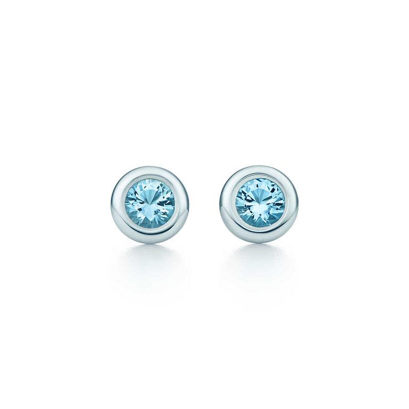 Серьги Elsa Peretti™ Color by the Yard из стерлингового серебра с аквамаринами.          |         Tiffany & Co.