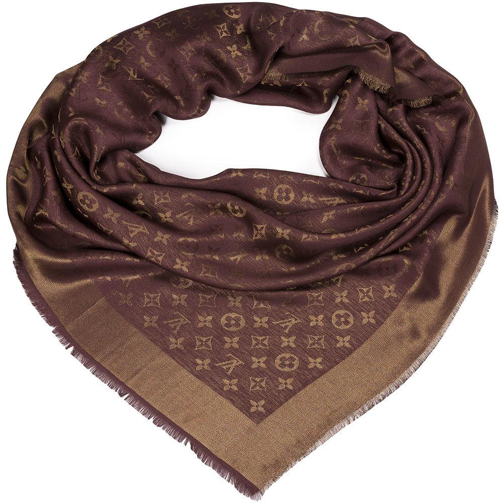 """Шаль Louis Vuitton """"Monogram Lurex"""" кофейная с золотой нитью"""