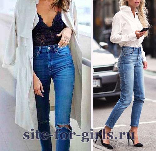 Узкие джинсы цвета индиго