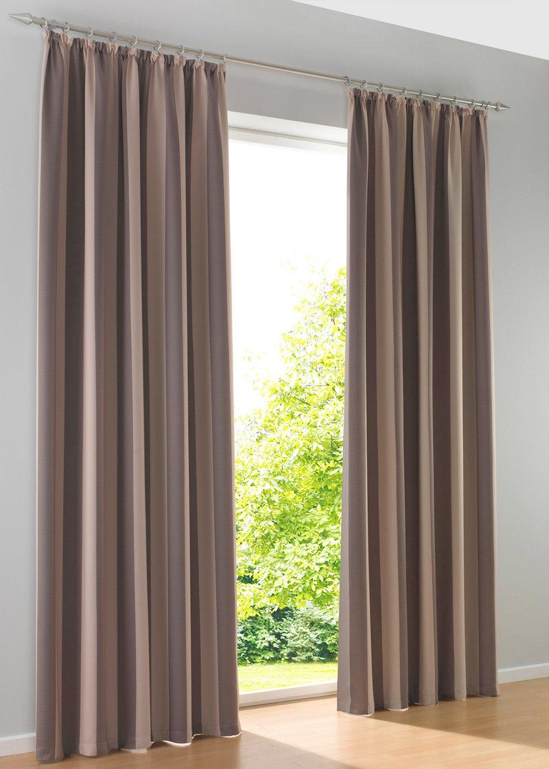 Затемняющая штора «Полоски» (1 шт.), гофрированная тесьма коричневый - bpc living - bonprix.ru