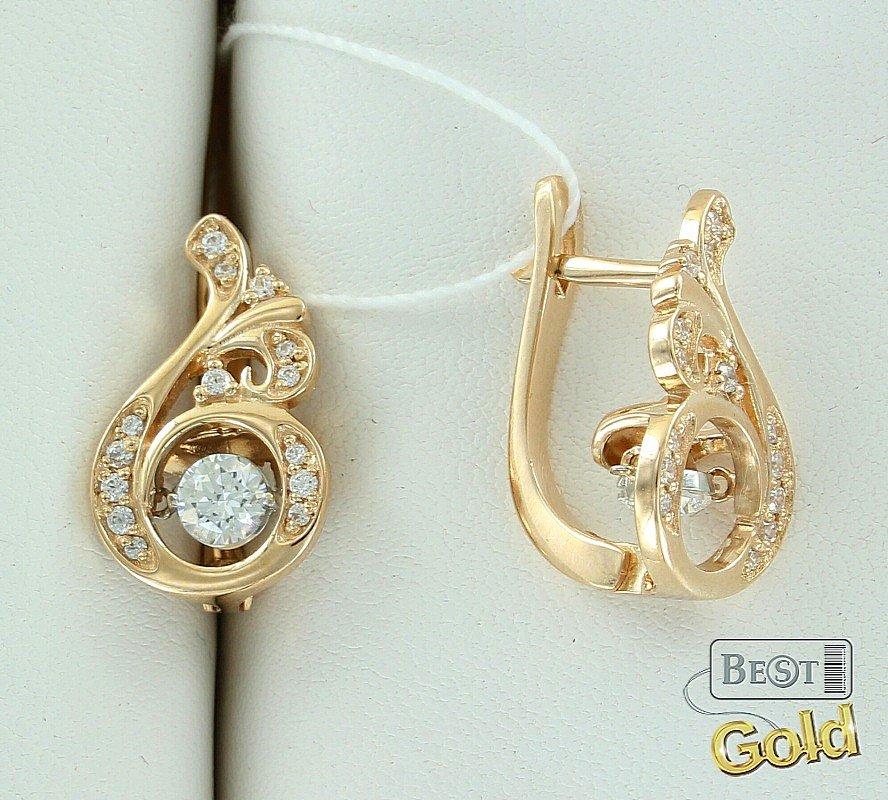 Золотые серьги сваровски(swarovski) - цена от 6700рублей  | Купить в ювелирном магазине BestGold