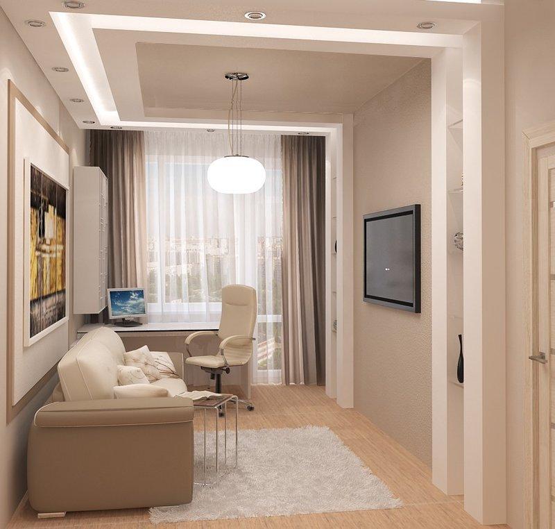 Небольшой домашний кабинет - Бежевого цвета (с диваном у стены)