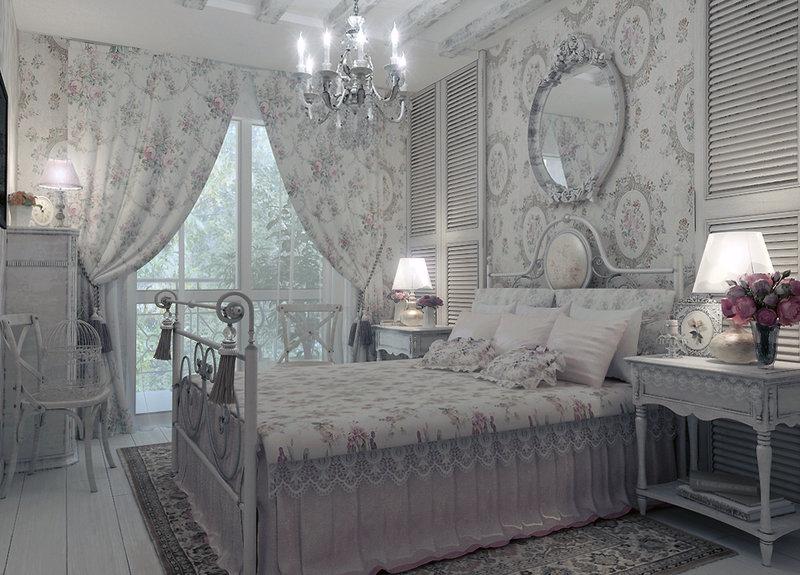 Стиль шебби-шик в интерьере   Как сделать ремонт Светло серая спальня в стиле шебби шик