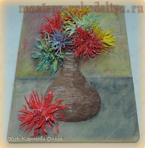 Картина из полимерной глины Букет хризантем