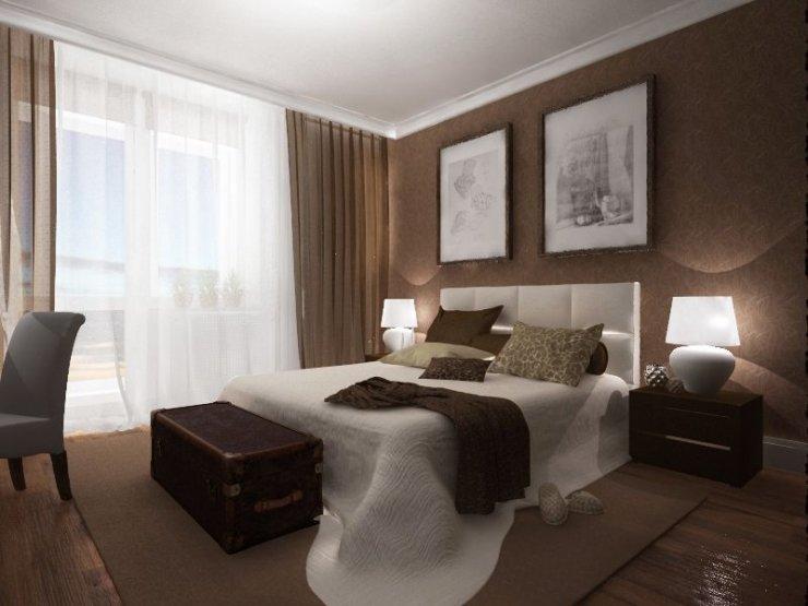 обои коричневые в спальне фото
