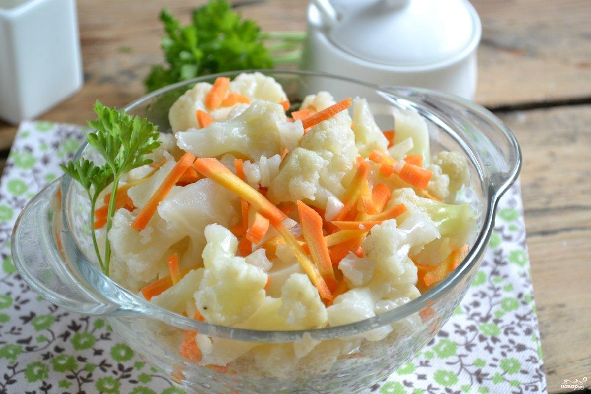 цветная капуста маринованная быстрого приготовления с морковью