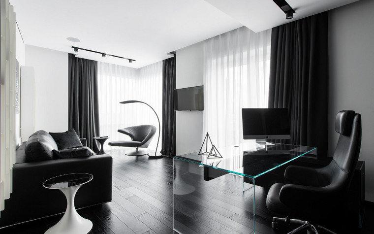 Домашний кабинет в современном стиле - В чёрно-белом цвете (много солнечного света)
