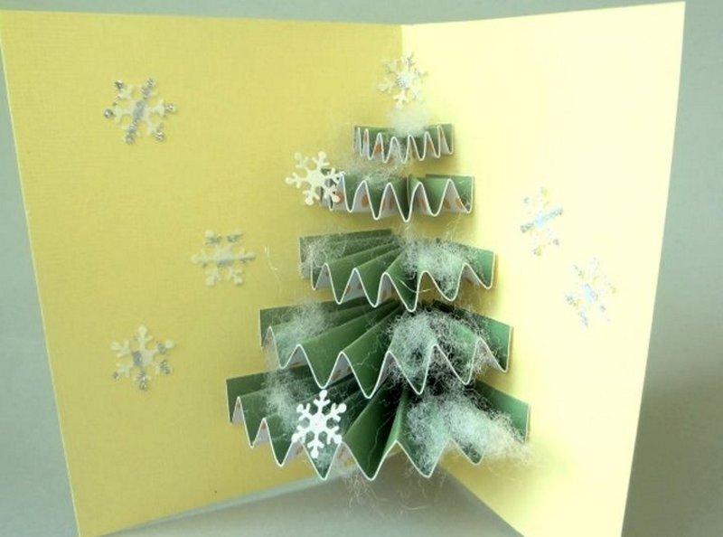 Как сделать внутри открытки елку объемную, подружке днем поздравление