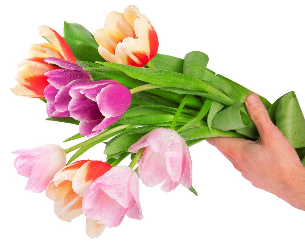 Цветы в руках открытка