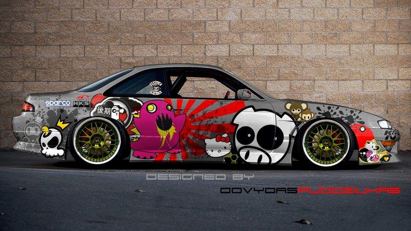 Раскраска машины в японском стиле.