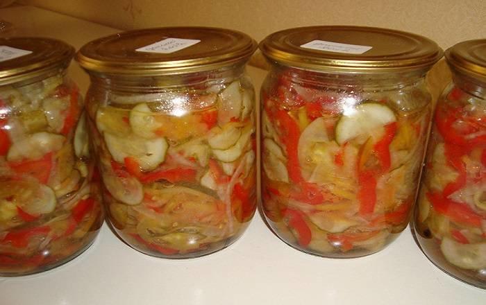 огурцы помидоры капуста в одной банке салат на зиму