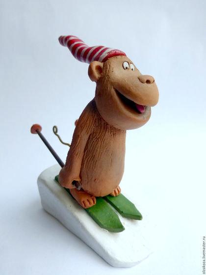 Новый год 2016 ручной работы. Ярмарка Мастеров - ручная работа. Купить Обезьяна лыжник. Handmade. Обезьяна, фигурки обезьян