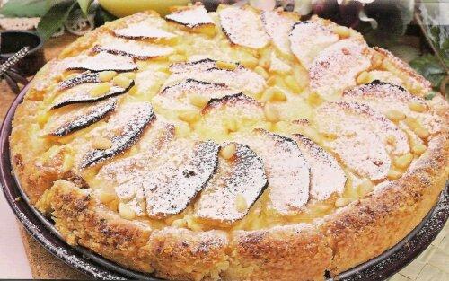пирог с яблоками и ревнем