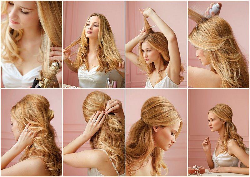 пошаговое фото прическа на средние волосы
