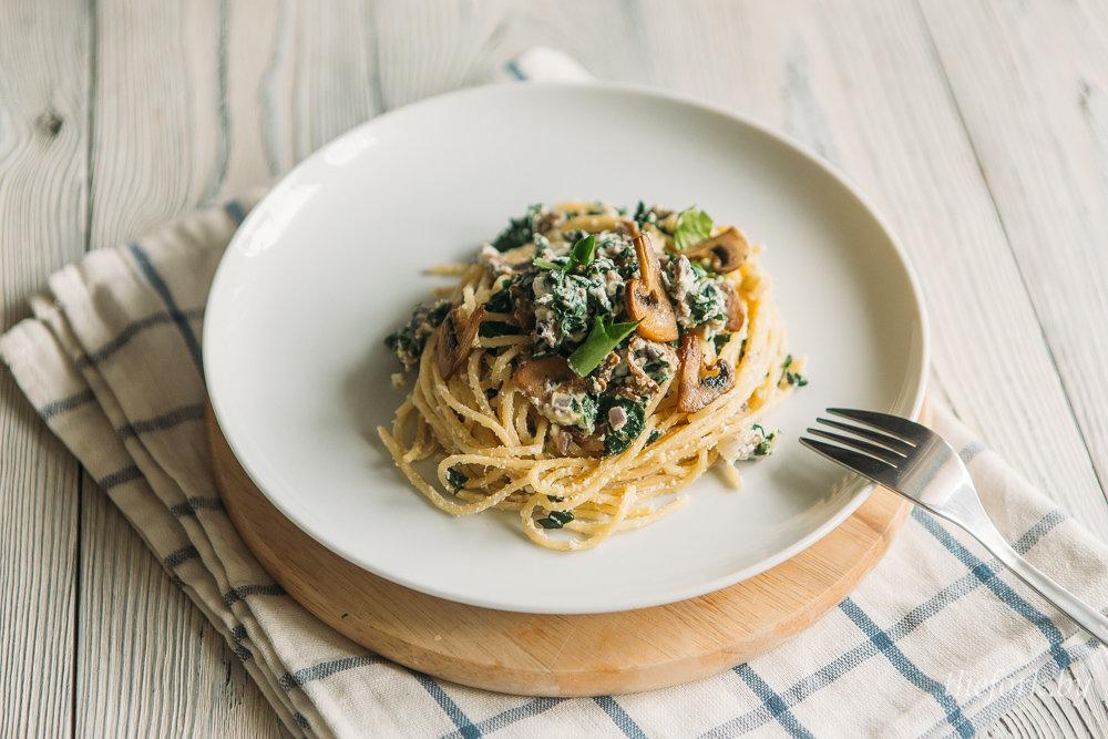 шпинат со спагетти со сливками рецепты-хв4