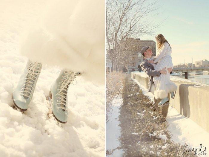 Зимняя свадьба: голубой цвет и коньки