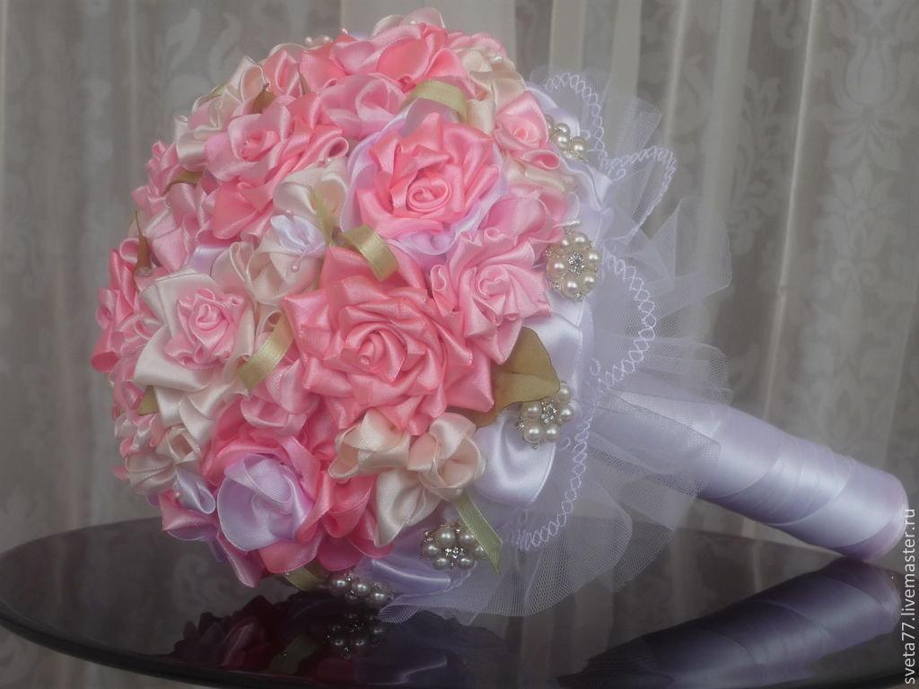 Купить, свадебный букет цветы из лент мастер класс