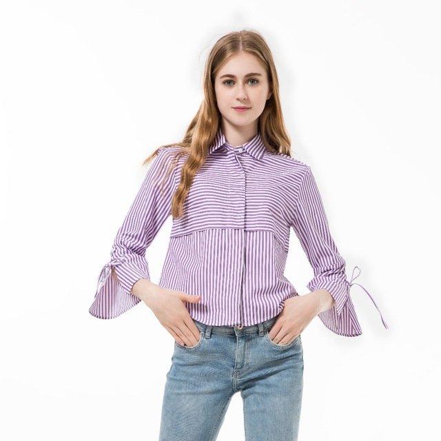 30659187d55 ... Купить 2016 Женская Мода Блузки Хлопок Blusas Повседневная Рубашка  Женщины Flare Рукавом в Полоску Vetement Femme