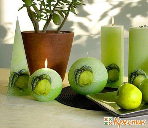 Декоративные свечи с ароматом яблока