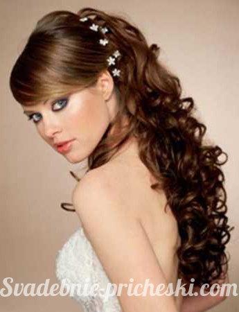 Фото свадебных причесок на длинный волос с челкой