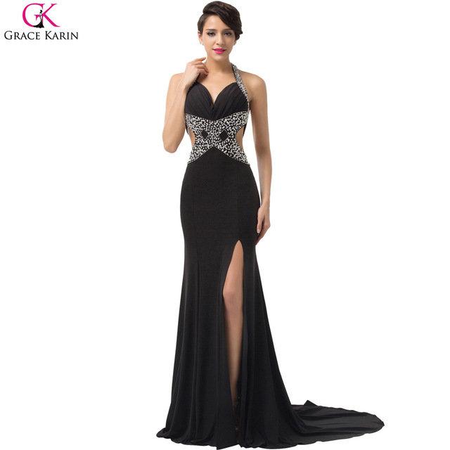 Черное сексуальное вечернее платье