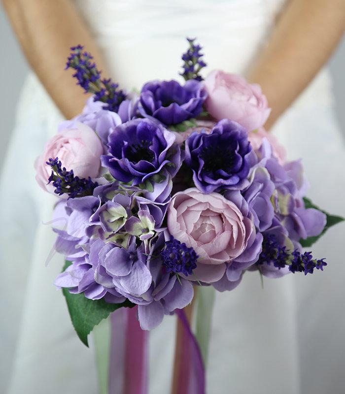 Букет для невесты 10 в сиреневом цвете фото