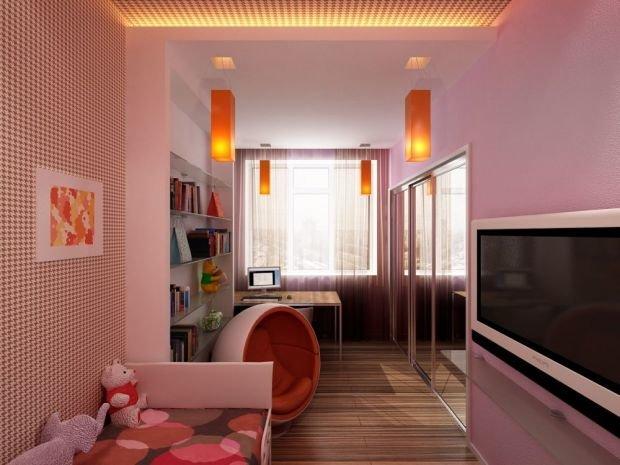 Прямоугольная детская комнаты с четким зонирование