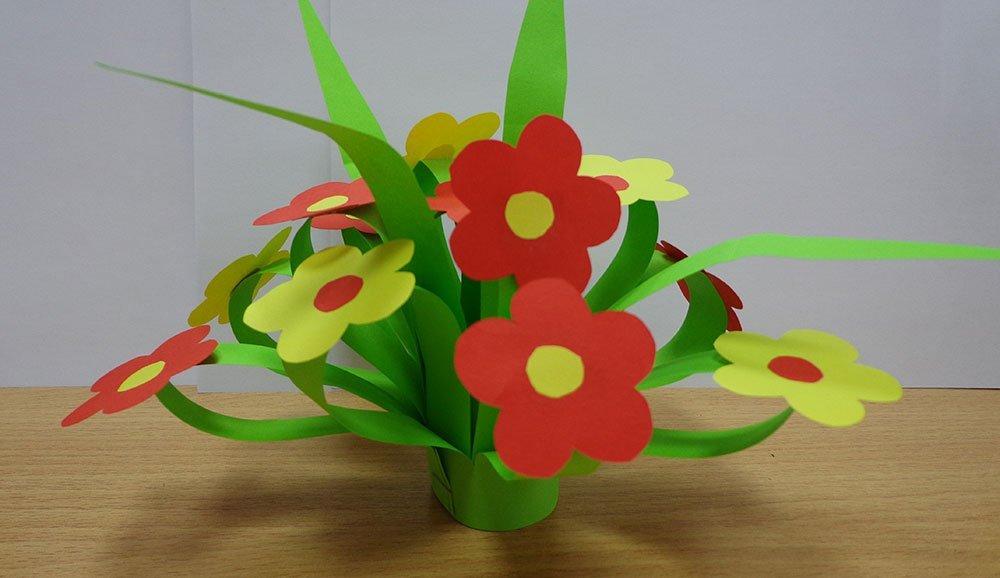 Открытка цветы детский сад, рисованные цветы как