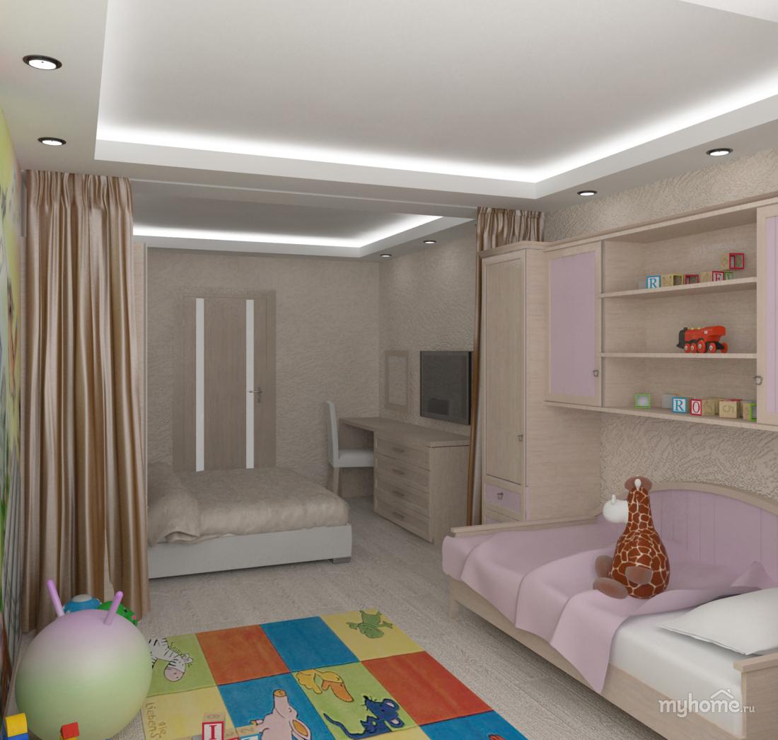 Дизайн однокомнатной квартиры с ребенком - примеры интерьера 62