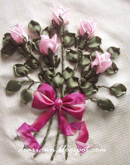 Вышивка лентами роза объемная