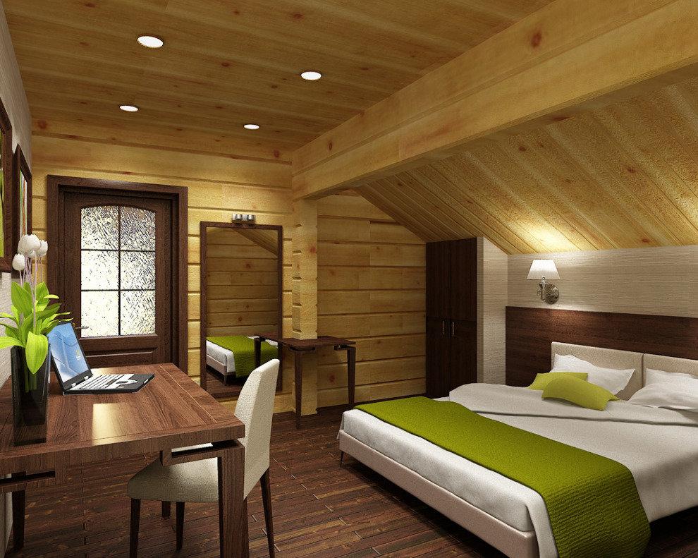 деревянном доме фото мансарда в фото спальни