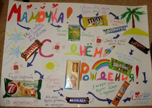 Плакат на день рождения своими руками со сладостями сестре фото 296