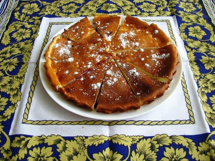Лёгкий творожный пирог с черникой (без муки !)