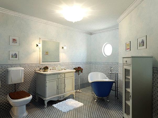 Ванная в стиле прованс в загородном доме