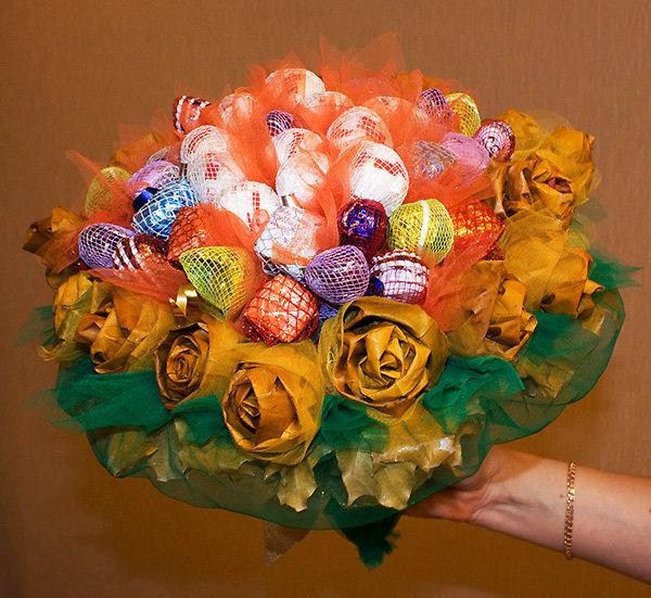Букеты из конфет своими руками: 70 фото создания карамельных и