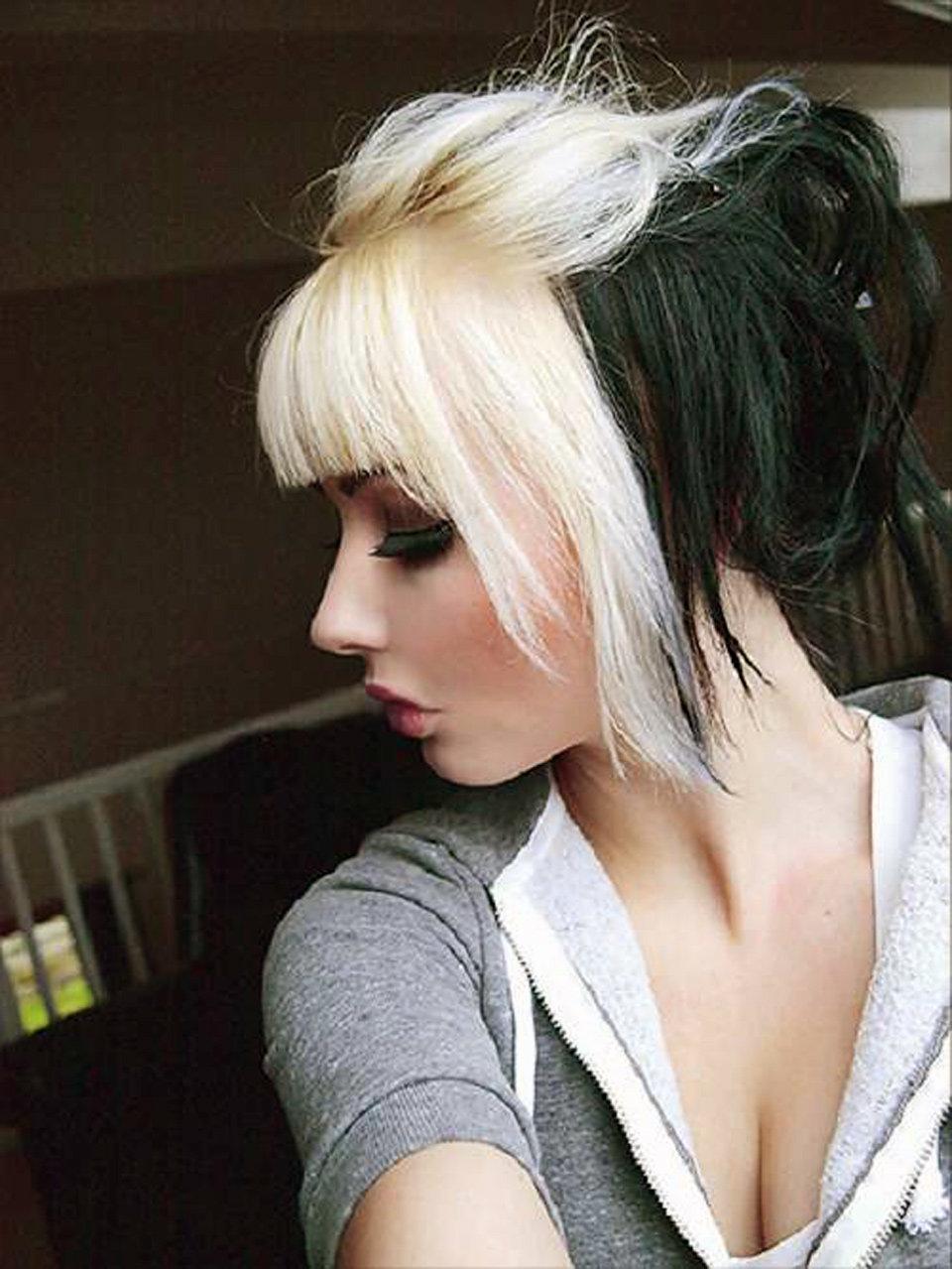 покраска волос низ черный верх белый фото этом вам