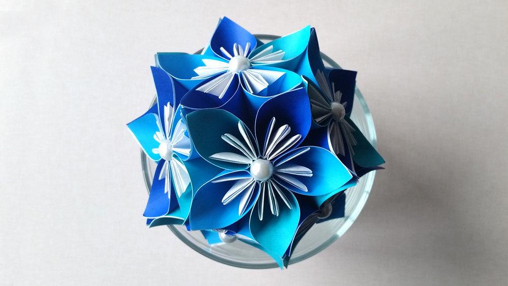 Blue kusudama japanese origami flower ball card from user blue kusudama japanese origami flower ball mightylinksfo