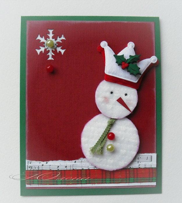 Новогодняя открытка своими руками из бумаги и картона снеговик