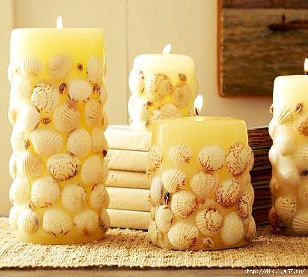 Свечи декоративные с ракушками
