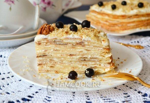 Блинный торт с кремом фото рецепт