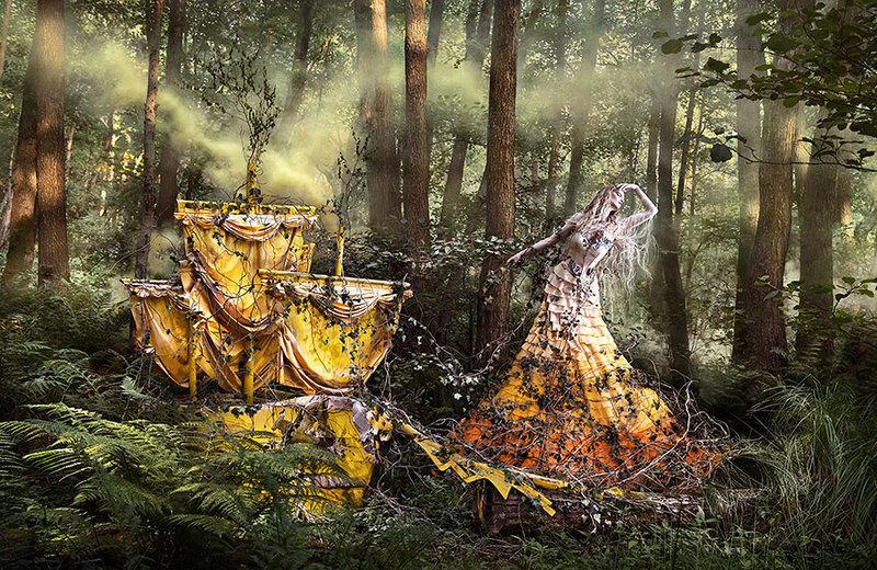 Фото девушки в загадочном лесу