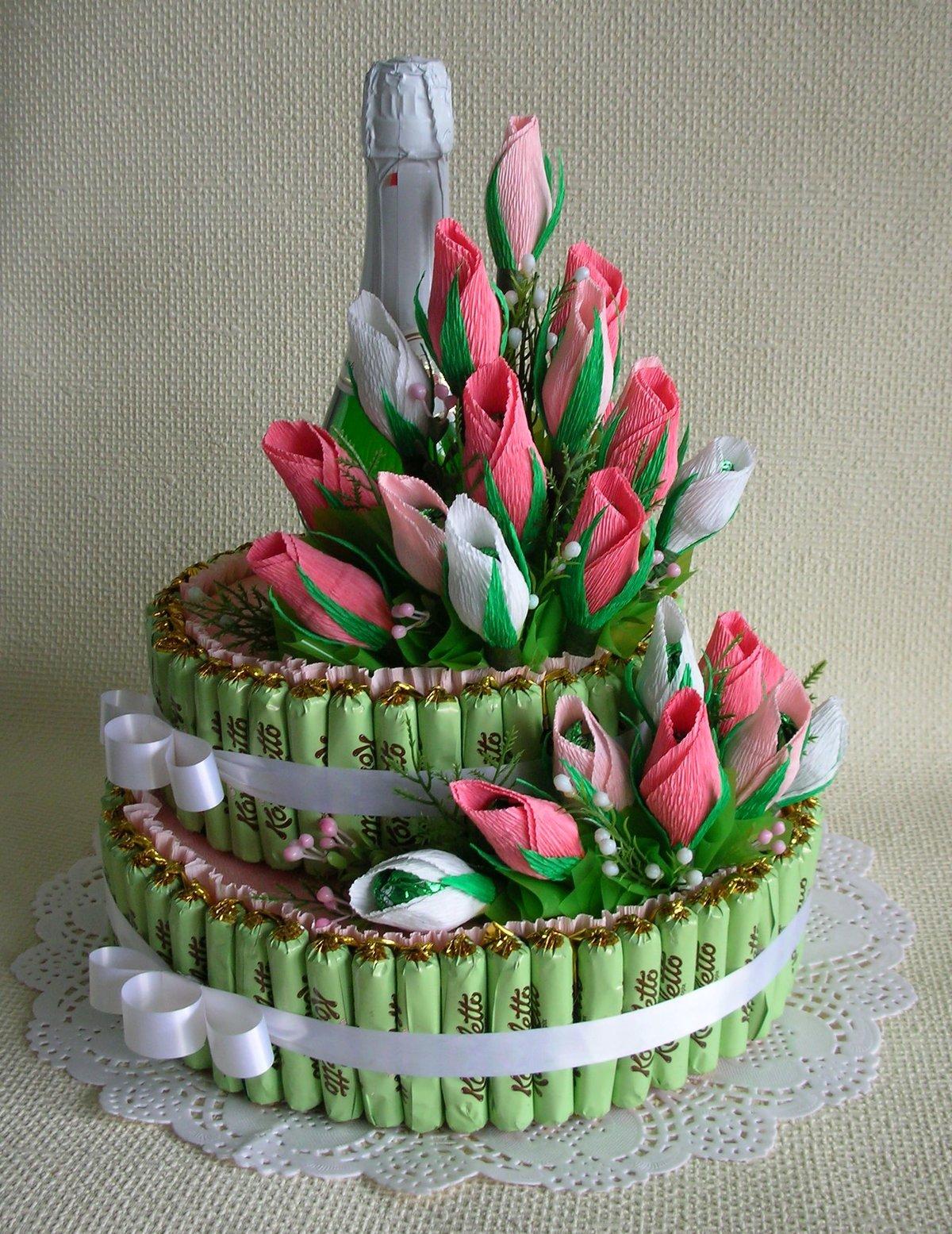 Торт и конфет с цветами своими руками фото 509