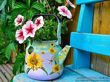 кашпо для цветов своими руками из старого чайника