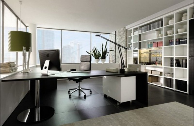 Домашний кабинет в современном стиле смотрится гармонично