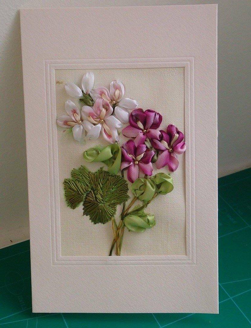 Розы из ленты на открытку, свеча