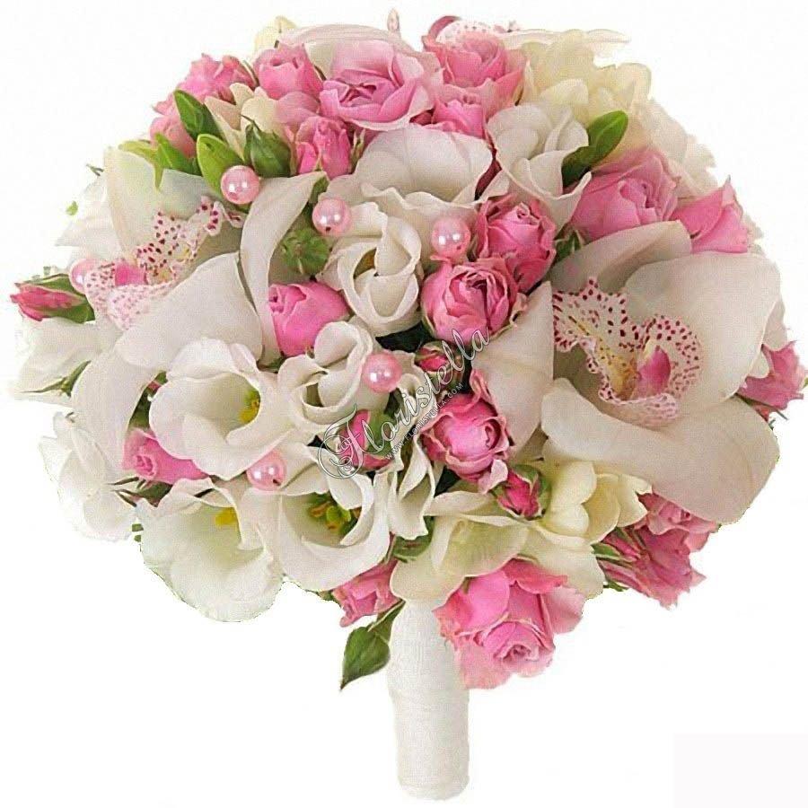 Букет невесты с розовыми орхидеями и розами