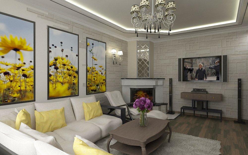 дизайн зала с камином фото в квартире